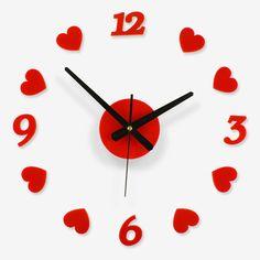 moderno acrlico breve en forma de corazn el amor nmero de bricolaje de arte reloj de