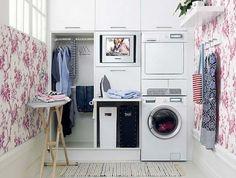 Small Laundry Room Design Ideas-41-1 Kindesign Laundry Room Cabinets, Basement Laundry, Laundry Room Organization, Laundry Room Design, Laundry Area, Storage Cabinets, Laundry Tips, Garage Laundry, Diy Garage