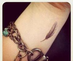 Small feather tattoo. Hmmm
