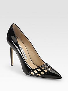 Manolo Blahnik BB Jabi Patent Leather Cage Pumps  $775