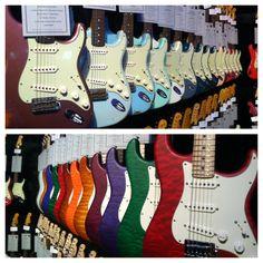 Custom shop guitars from the Fender showroom at NAMM 2014 #guitars #music #musicians