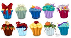 Disney Princesses as cupcakes! Top left to bottom right- Snow White, Tiana, ?, Ariel, Rapunzel, ?, Mulan, Belle, Cinderella, Jasmine.  Who are the other two??