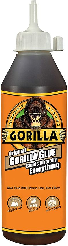Gorilla Glue comes in a number of varieties, many of which I can live without. It's the 'Original' Gorilla Glue that is exceptional! It will stick anything together and hold it there for dear life and quite possibly all of eternity. But, the repair most likely will remain visible. It takes a while to dry, which means I have time to reposition and get things just right. Original Gorilla Glue is perfect for situations where you just don't have a clean break with two like surfaces to join together. Warped Wall, Clear Glue, Wooden Hand, Have Time, Adhesive, The Originals, Bottle, Wood Stone, Brown
