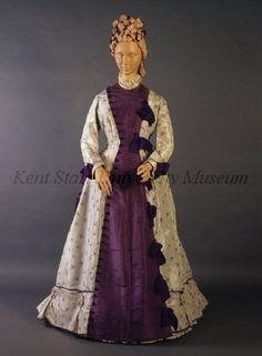 1875 Tea Gown Culture: English Medium: silk taffeta Tea gown of lavender and ice…
