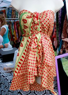 Made out of traditional recycled vintage saris, the Jinkys skirt can be worn a number of different ways including as a shirt and as a dress! ShopJinkys.com