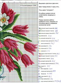 Cross-stitch Tulips with White Flowers, part 2..  with the color chart