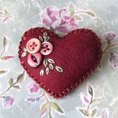 Little felt and button brooch - 'Heart-Felt' - . - FolksyYou can find Felt hearts and more on our website.Little felt and button brooch - 'Heart-Felt' - . Felt Embroidery, Felt Applique, Felt Christmas Ornaments, Christmas Crafts, Christmas Christmas, Diy Ornaments, Beaded Ornaments, Homemade Christmas, Glass Ornaments