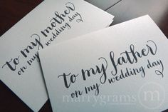 Wedding Card to Your Mother or Father -- Parents of the Bride or Groom Cards. $12.00, via Etsy.