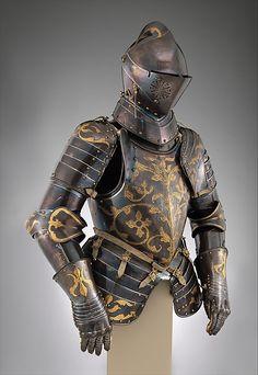 Foot-Combat Armor of Prince-Elector Christian I of Saxony, une rare armure qui a quelques traces de couleur bleue
