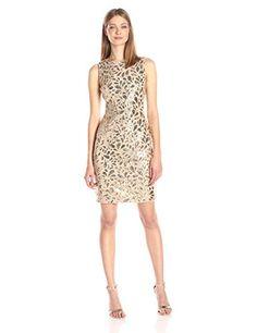 Calvin Klein Women's Sleeveless Gold Sequin Sheath - http://www.darrenblogs.com/2016/11/calvin-klein-womens-sleeveless-gold-sequin-sheath/