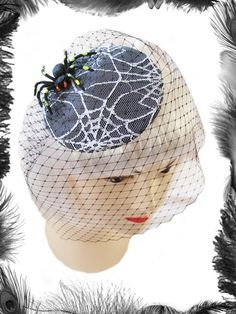 Spider on Spider Web Lace Cocktail Hat, Gothic, Psychobilly $39.99