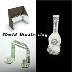 Celebrate World Music Day with these adorable origami instruments! Money Origami, Paper Crafts Origami, Fun Activities For Kids, Crafts For Kids, Arts And Crafts, Musical Instruments, World Music Day, National Pink Day, Instruments