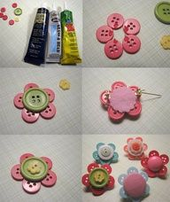 button flower tutorial - would be cute as a hairbow or pin #DIY