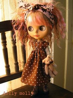 dolly molly brown and pink dots dress and floral by dollymolly, $22.00