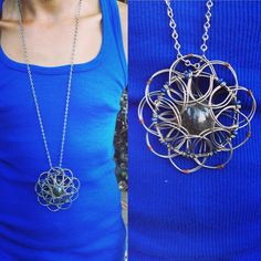 """3D Tibetan-style wire mandala necklace with lapis lazuli stones and large center smoky quartz including handmade rice point style chain. This #mandala is maneuverable making it a great #meditation and #fidget tool. Check out our YouTube video where we tell the story of the universe (in Spanish) using a 3D mandala. Look for """"Flower of Life Artesania 3D wire mandala demo."""" #spiritual #necklace #3d #wirejewelry #wire #wirewrapped #fidgettoy #yoga #wiremandala #fola #colares #mandaladealambre… Flower Of Life, Smoky Quartz, Lapis Lazuli, Wire Jewelry, Washer Necklace, 3 D, Spanish, Meditation, Mandala"""