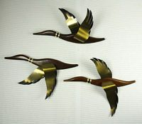 Vintage Mid Century Set 3 Wood Flying Duck Geese Wall Hanging Decor Maskateers
