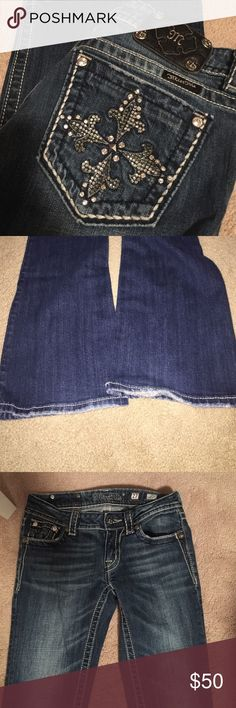 Miss me boot cut jeans Great condition, besides a little wear on heels. Boot cut but looks more like a flare to me Miss Me Jeans Boot Cut