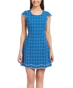 Love this Blue Plaid Linen-Blend Cap-Sleeve Dress by Esley Collection on #zulily! #zulilyfinds