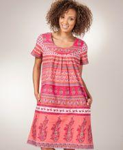 La Cera 100% Cotton Short Sleeve Muu Muu Dress - Floral Coral Muumuu, Short Sleeve Dresses, Dresses With Sleeves, Cotton Shorts, Coral, Fancy, Stylish, Shopping, Women