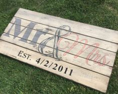 Approx 36 x 15 Pallet Style Mr & Mrs w/ Est. Date Perfect Wedding/Anniversary gift. Or just a piece to hang in remembrance of that great day! The sign pictured is hand painted with antique white and has Slate Blue, Blush & Black accents and then is distressed and sealed for that perfect aged and worn look. We can customize it to the color of your choosing. Please include the following information in the Notes to Seller section at checkout. 1. Year 2. Color: Base (background) and Accents…