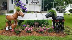 Horses made out of flower pots
