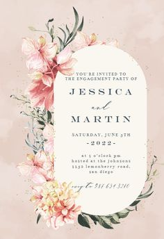 Spring Pastel Flower - Engagement Party Invitation #invitations #printable #diy #template #Engagement #party #wedding