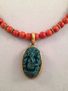 Ganesh Coral Pendant Choker Necklace by TheArtsyNomad on Etsy, $59.00