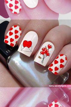 Rose Nail Art, Heart Nail Art, Rose Nails, Heart Nails, Natural Nail Designs, Valentine's Day Nail Designs, Holiday Nails, Christmas Nails, Nyc Nails