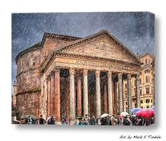 Moody Winter Day At The Ancient Pantheon - Rome Art by Mark E Tisdale - Rain on an Italian Landmark.