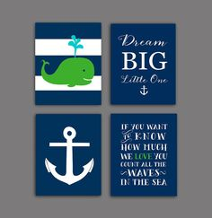 Navy green nursery, nautical nursery decor, navy and green nautical Wall decor, baby boy nursery art set of 4, DIGITAL DONLOAD
