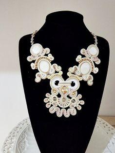 Soutache ivory necklace with swarovski rivoli by mysweetcrochet, $230.00
