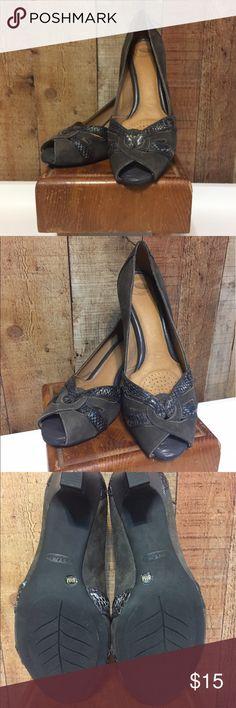 Nurture Suede & Snakeskin Heels These super comfortable suede and snakeskin peep-toe high heels are in excellent condition. Nurture Shoes Heels