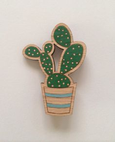 Wood laser cut brooch prickly pear cactus dark green and peach
