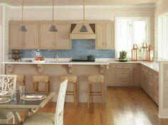 Image result for light oak kitchen with subway tiles