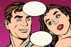 Man and woman close-up face communication pop art retro vector. Love between the sexes. Art Pop, Foto Pop Art, Mouse Illustration, Pencil Illustration, Emotion Psychology, Love Dialogues, Close Up Faces, Pop Characters, Retro Vector