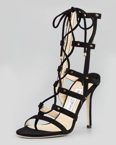 Meddle Cage Gladiator Ankle Boot, Black by Jimmy Choo at Neiman Marcus.