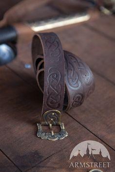 Embossed Leather Viking Belt