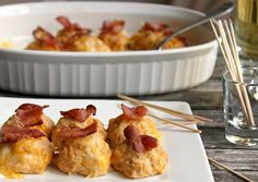Buffalo Ranch Chicken Cheese Bites with Crispy Bacon     1 lb ground chicken  1/4 cup Franks Buffalo Hot Sauce  1/4 cup Ranch Dressing  1 tsp garlic powder  1 egg lightly beaten  3 pieces of soft white or wheat bread broken up into little bits  A few cranks of fresh cracked pepper   Cheese and small piece of cooked crisp bacon for the top of each one     Directions:    Preheat oven to 375.    In a large bowl, mix together all ingredients (minus the cheese and bacon) with a spoon.     Spray a…