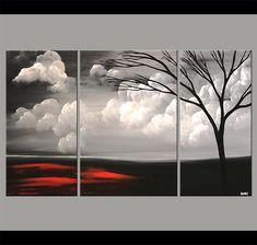 Gran paisaje abstracto Original acrílico pintura por OsnatFineArt