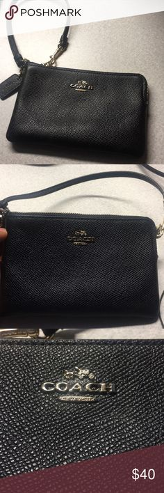 """COACH EMBOSSED CORNER ZIP SMALL LEATHER WRISTLET Crossgrain leather Two credit card slots Zip-top closure, fabric lining Strap with clip to form a wrist strap or attach to the inside of a bag 6 1/4"""" (L) x 4"""" (H) Fits all phone sizes up to an iPhone X (except plus) STYLE NO. 57768  Lovely, convenient wallet from coach. It has two card slots and is roomy. I just bought this wallet from Coach's website in Mid- October (2017), so it is as good as new.  I am selling only because I am looking for…"""