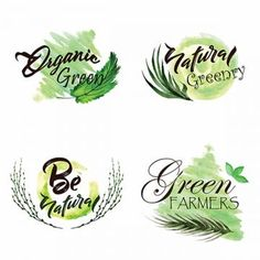 Watercolor Green Leaves Logo Collection, Leaf, Leaves, Tree PNG and Vector Watercolor Splatter, Watercolor Logo, Watercolor Leaves, Watercolor Water, Resto Vegan, Adobe Illustrator, Green Leaf Background, Plant Logos, Tree Logos
