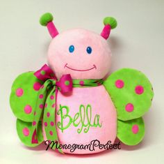 Items similar to Personalized, Monogrammed Hot Pink & Lime Green Butterfly Stuffed Animal, Soft Toy, Pillow on Etsy Raccoon Stuffed Animal, Cute Stuffed Animals, Cute Butterfly, Green Butterfly, Baby Pillows, Kids Pillows, Monkey Nursery, Cute Baby Shower Gifts, Gifts For Pet Lovers