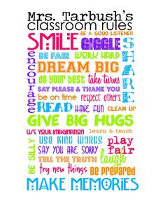 Perfect Teacher's Gift! Classroom Rules - Customize with teacher's name
