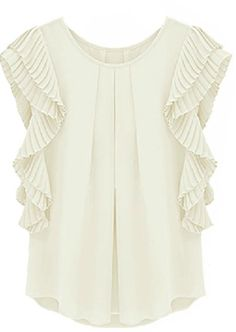 16.67 White Ruffles Sleeve Loose Chiffon Blouse