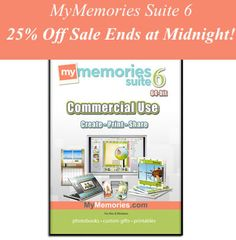 My Memories 6 !Commerical Use software and Content: 6 Designer Templates, 128 Backgrounds, 354 Embellishments are valued at over $240! Plus for a limited time you'll get at $10 account credit with the purchase of the download version, as well as a 20% off code good for Photo Gifts and Photobooks, and a code for your first month free of the MM Design Club!Hurry sale ends at midnight! You can use also coupon code STMMMS45267 to save another  $10 off the software.