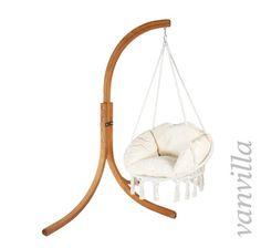 vanvilla Hängesessel mit Gestell aus Lärche MINDORO Sitzauflage Natur, Holz teakfarben geölt, Schwebesessel, Hängestuhl,…