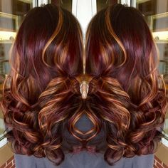 Copper hilites with Burgundy color