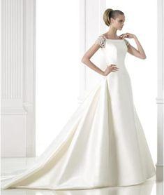 Výstřih do U Satén Zima Svatební šaty 2015