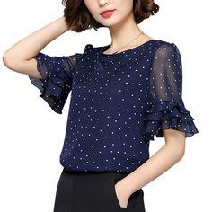 $12.31 - Women Elegant Chiffon Shirt Half Ruffle Sleeve Lady Polka Dot Casual Tops Blouse #ebay #Fashion