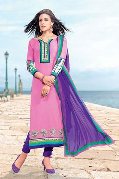 Pink and Purple Designer Cotton Dress Material
